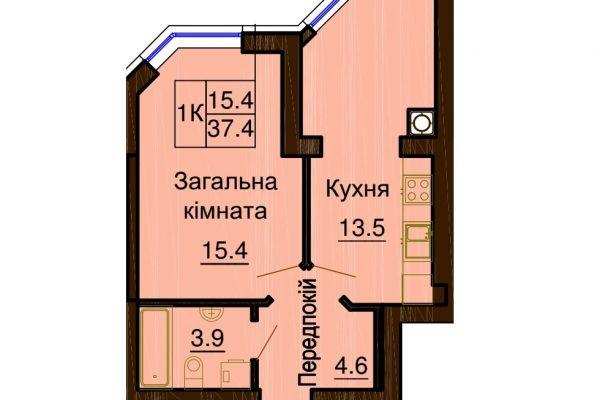 София Клубный 37.4 м². Однокомнатная