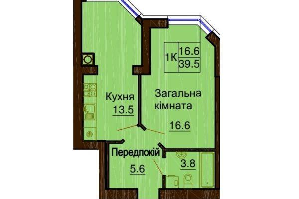 София Клубный 39.5 м². Однокомнатная квартира