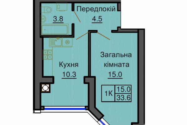 София Клубный 33.6 м². Однокомнатная